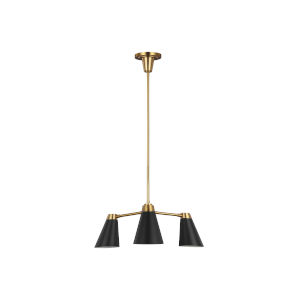Signoret Burnished Brass and Black Three-Light Small Chandelier