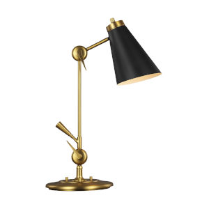 Signoret Burnished Brass and Black One-Light Task Table Lamp