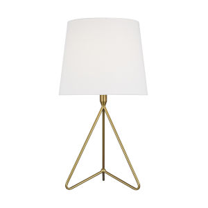 Dylan Burnished Brass and White One-Light Tall Table Lamp