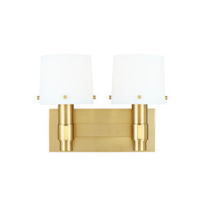 Palma Burnished Brass and White Two-Light Bath Vanity