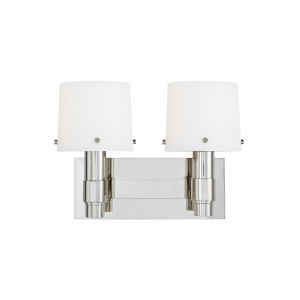 Palma Polished Nickel and White Two-Light Bath Vanity