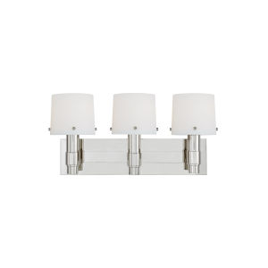 Palma Polished Nickel and White Three-Light Bath Vanity