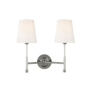 Capri Polished Nickel 16-Inch Two-Light Wall Sconce