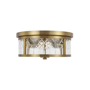Alec Burnished Brass 13-Inch Two-Light Flush Mount