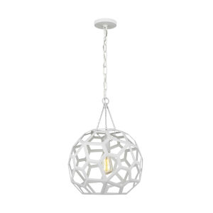 Feccetta Paper Mache White 15-Inch One-Light Pendant