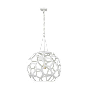 Feccetta Paper Mache White 21-Inch One-Light Pendant