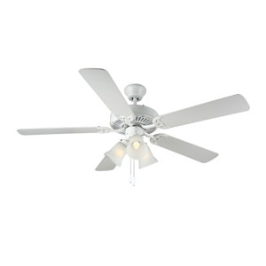 HomeBuilder III White Three-Light 52-Inch Ceiling Fan