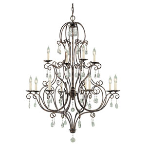 Chateau Mocha Bronze Twelve-Light Chandelier