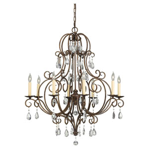 Chateau Mocha Bronze Eight-Light Chandelier