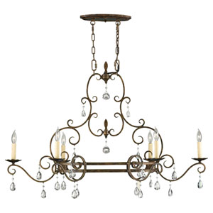 Chateau Mocha Bronze Six-Light Chandelier