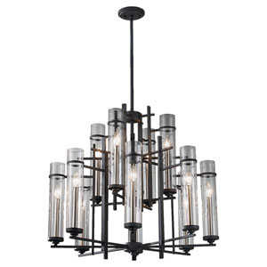Ethan Antique Forged Iron/Aged Walnut Twelve-Light Chandelier