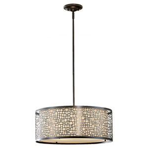 Joplin Light Antique Bronze Three-Light Drum Pendant