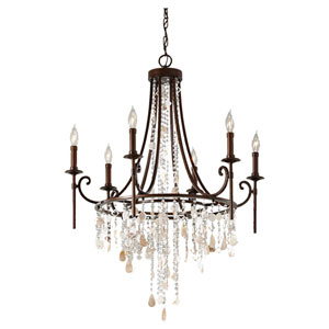 Cascade Heritage Bronze Six-Light Chandelier