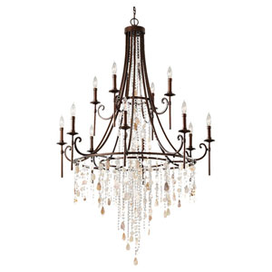 Cascade Heritage Bronze Twelve-Light Chandelier