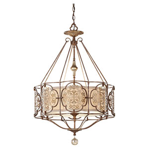 Marcella British Bronze Three-Light Chandelier