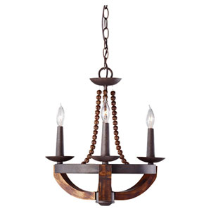 Adan Three-LightRustic Iron and Burnished Wood Chandelier