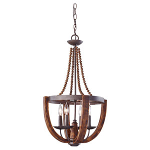 Adan Four-Light Rustic Iron and Burnished Wood Pendant