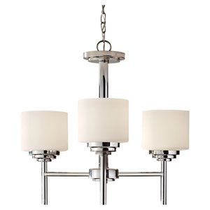 Malibu Polished Nickel Three Light Chandelier with White Opal Etched Glass