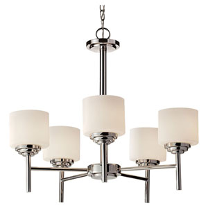 Malibu Polished Nickel Five Light Single Tier Chandelier with Opal Etched Glass