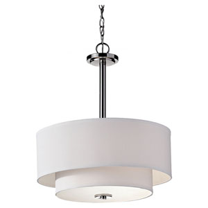Malibu Polished Nickel 21.43-Inch Three Light Pendant