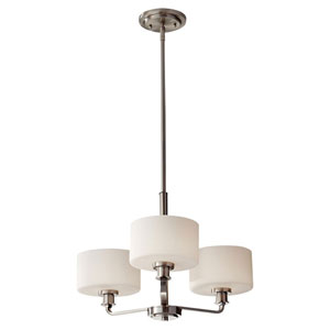 Kincaid Brushed Steel Three Light Single Tier Chandelier