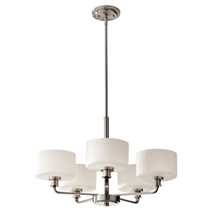 Kincaid Brushed Steel Five Light Single Tier Chandelier with Opal Etched Glass