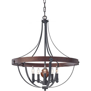 Alston Af, Charcoal Brick and Acorn Five Light Single Tier Chandelier