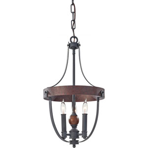 Alston Af, Charcoal Brick and Acorn Three Light Single Tier Chandelier