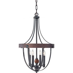 Alston Af, Charcoal Brick and Acorn Four Light Single Tier Chandelier