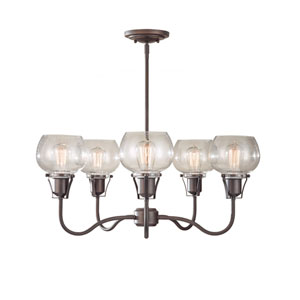 Urban Renewal Rustic Iron Five-Light Chandelier with Clear Seeded Glass