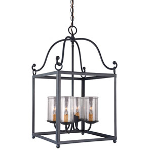 Declaration Antique Forged Iron Four-Light Pendant with Clear Seeded Glass