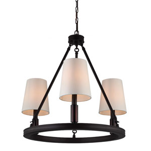 Lismore Oil Rubbed Bronze Three-Light Chandelier with Ivory Fabric Shade