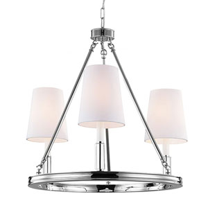 Lismore Polished Nickel Three-Light Chandelier with White Fabric Shade