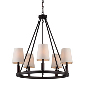 Lismore Oil Rubbed Bronze Five-Light Chandelier with Ivory Fabric Shade
