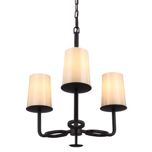 Huntley Oil Rubbed Bronze Three-Light Chandelier with Ivory Powder Frit Glass