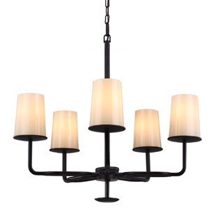 Huntley Oil Rubbed Bronze Five-Light Chandelier with Ivory Powder Frit Glass