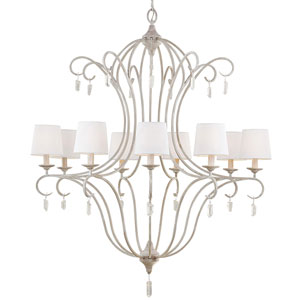 Caprice Chalk Washed Nine-Light Chandelier with White Linen Hardback Fabric Shade
