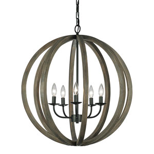 Allier Weather Oak Wood and Antique Forged Iron Five-Light Large Pendant