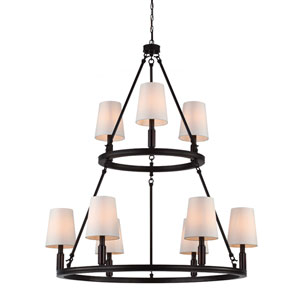 Lismore Oil Rubbed Bronze Nine-Light Chandelier with Ivory Fabric Shade
