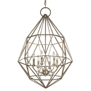 Marquise Burnished Silver Six-Light Chandelier