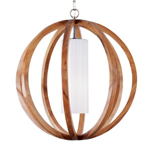 Allier Light Wood and Brushed Steel 26-Inch WideOne-Light Large Pendant with Clear Opal Glass