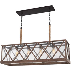 Lumiere Dark Weathered Oak and Oil Rubbed Bronze Four-Light Chandelier