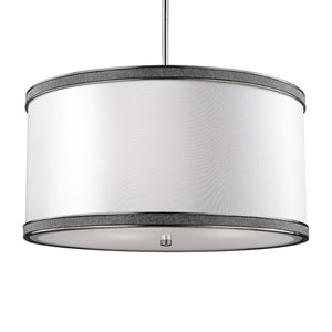 Pave Polished Nickel Three-Light Pendant