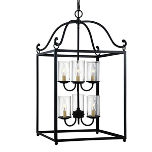 Declaration Antique Forged Iron Six-Light Chandelier
