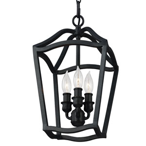 Yarmouth Antique Forged Iron Three-Light Mini Pendant