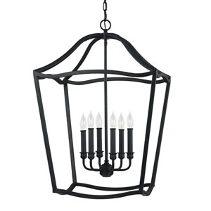 Yarmouth Antique Forged Iron Six-Light Pendant