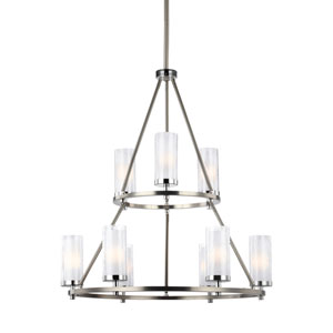 Jonah Satin Nickel and Chrome Nine-Light Chandelier