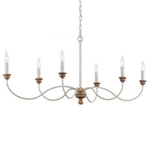 Hartsville Chalk Washed Six-Light Chandelier