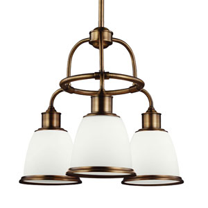 Hobson Aged Brass Three-Light Chandelier With Opal Glass