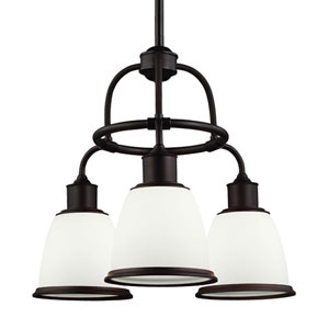 Hobson Oil Rubbed Bronze Three-Light Chandelier With Opal Glass